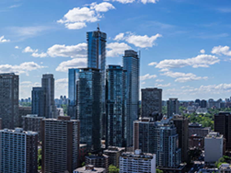 Panoramic view of commercial buildings provided by UAV services.
