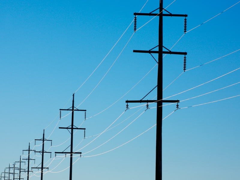 Close-up of aerial power lines
